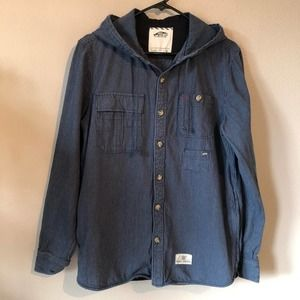 Vans Hoodie Button Up Blue Stripe Mens Small